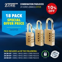 24/OFFER | ZONE 24 SERIES COMBI BRASS PADLOCKS 20 PACK OFFER