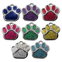 GRP-GLT00010 | 27MM GLITTER PAW SHAPED PET TAG