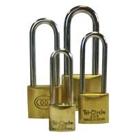 GRP-TRIBRASSLONG | TRI-CIRCLE - BRASS LONG SHACKLE PADLOCK VISI PACKED