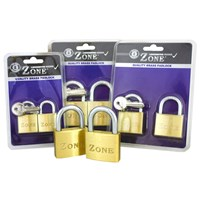 GRP-Z10TWINPACK | ZONE 10 SERIES BRASS PADLOCK KEYED ALIKE - TWIN VISI PACK