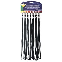 KRA1494/B | NARROW LANYARDS BLACK (CARD OF 12)
