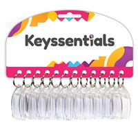 KRA1582 | KEYSSENTIALS - 35X25MM CLEAR PLASTIC KEYRINGS (CARD OF 12)
