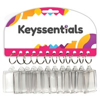 KRA1613 | KEYSSENTIALS - 50X32MM CLEAR PLASTIC KEYRINGS (CARD OF 12)