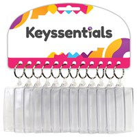 KRA1614 | KEYSSENTIALS - 72X45MM CLEAR PLASTIC KEYRINGS (CARD OF 12)