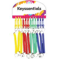 KRA343 | KEYSSENTIALS - PLASTIC SPIRAL CABLE SNAPPERS WITH D CLIP ASSORTED COLOURS (CARD OF 12)