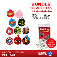 LPTB05 | DC & MARVEL 25MM PET TAG BUNDLE (5 OF EACH)