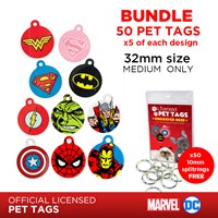 LPTB06 | DC & MARVEL 32MM PET TAG BUNDLE (5 OF EACH)