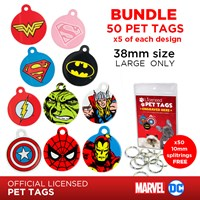 LPTB07 | DC & MARVEL 38MM PET TAG BUNDLE (5 OF EACH)